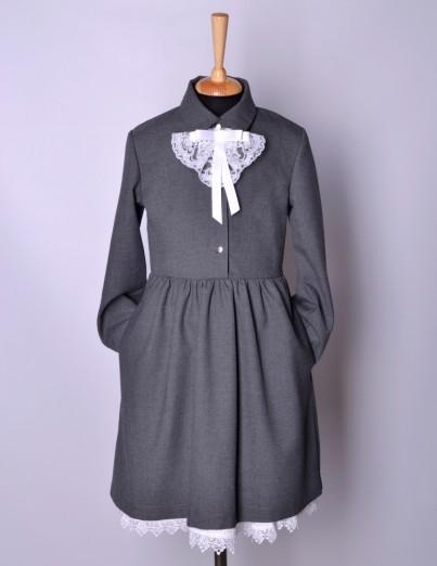 Школьное платье Виктория серое